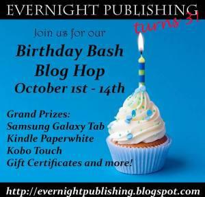 Evernight 3rd bday blog hop button - click to go to EvernightPublishing.com